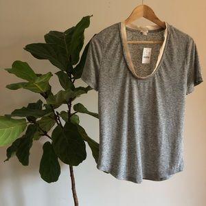 J.Crew Factory grey t-shirt with cream satin trim